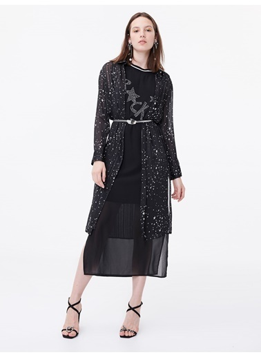 Twist Yıldız Desen Transparan Şeritli Tunik Siyah